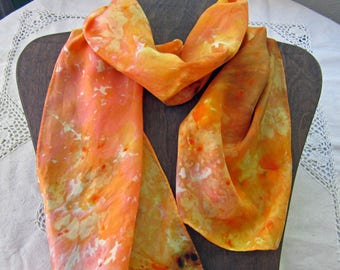 Orange Marmalade - Snow Dyed Habotai Silk Scarf