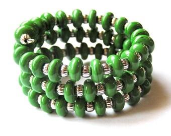 Kelly Green Bracelet - Green Wrap Bracelet - Summer Wrap Bracelet - Glass Bracelet - Lampwork Bead Bracelet -Triple Wrap Bracelet -Boho Chic