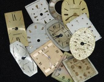 Vintage Antique Watch Dials Steampunk Faces Parts O 46