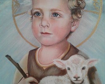 "Christ Child, Lamb of God 8""X10"" and 11""X14"" Prints on 110lb White Card Stock, Catholic Art taken from my original acrylic painting Signed"