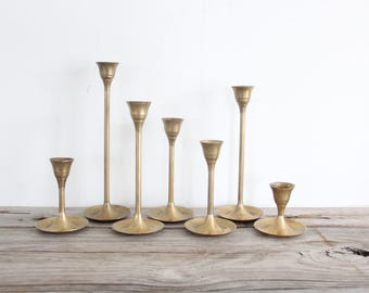 Graduated Modern Tulip Base Brass Candlesticks (Set of 7)