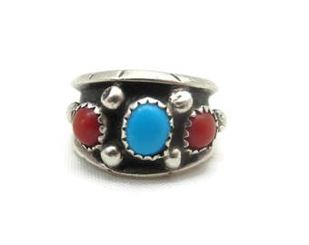 Sterling Silver Band Ring - Turquoise and Coral Navajo Signed ML, Size 7