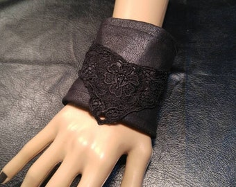 Black Pleather Lace Cuff
