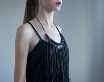Black Leather Fringe Necklace for women. Black Gold Bohemian Statement Necklace. Handmade Fringe Jewelry for Women