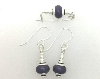 Earrings and Small Bar Pin Set #2 Dark Plum