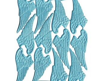 German Dresden Trim 12 Light Blue Angel Wings Die Cut Paper Foil DF703aLB