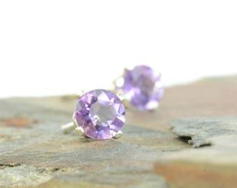 Amethyst earrings, sterling silver and amethyst studs, 3mm, 4mm, purple gemstone earrings, February birthstone jewellery, birthstone earring
