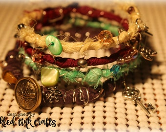 Bohemian Eclectic Style Memory Wire Bracelet