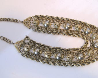 Vintage Jewelry Five Strand Chain and Beaded Collar Style Gold Tone Necklace Filigree Beads