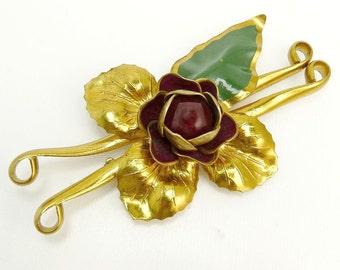 1940s Art Deco Brass & Enamel Flower Brooch