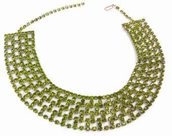 Vintage 7 Row Green Rhinestone Choker Necklace