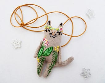 RESERVED - Tropical Cat Kids Necklace Miniature