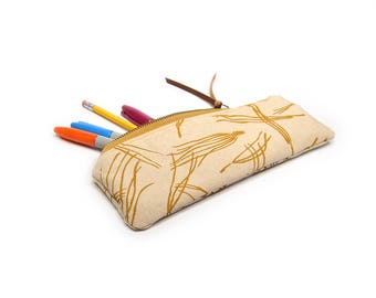 pencil case • zipper pouch • hand screenprinted pine needle print - mustard yellow - zipper pouch - fall style - yellow - botantical