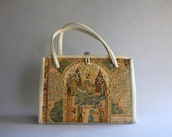 1950s Purse / Vintage 50s Novelty Print Handbag / 50s 60s Printed Gold Rhinestone Novelty Bag