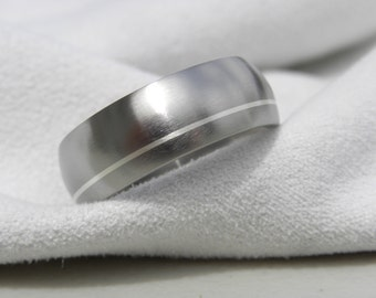 Titanium Ring, Wedding Band, Offset Silver Inlay, 8mm, Size 11.5 Clearance