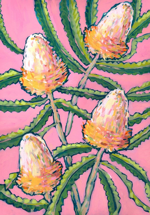 Pink Banksia Painting Archival Art Print Home Decor