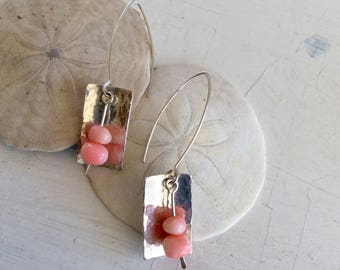 Hammered Sterling Silver Earrings with Coral Beads