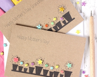 Personalised Mothers Day Card. Mother's Day Card unique. Card for Mum. Card for Mom. Mom's Day card. Flower Pots. Floral Mother's Day Card