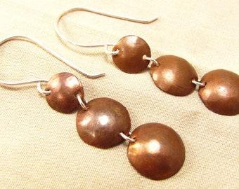 Mixed metal earrings - long copper earrings - linked - copper disks - rustic copper - copper silver - long earrings - copper boho earrings