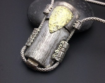 ON SALE Vessel, silver pendant, primitive, one-of-a-kind statement piece, 22 k gold