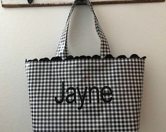 Beth's Large Gingham Oilcloth Tote Market Bag with Black Rick Rack and embroidery