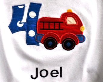 Fire truck theme birthday shirt for toddlers with name monogram