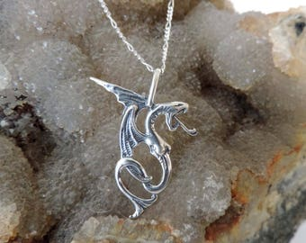 Dragon Sterling Silver Pendant with  Chain