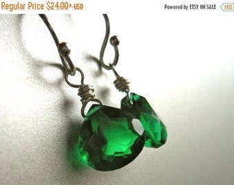 15% OFF sale, Emerald Earrings, emerald quartz, emerald dangle, Sterling or Gold Available, emerald green earrings, Teeny Emerald Green Earr
