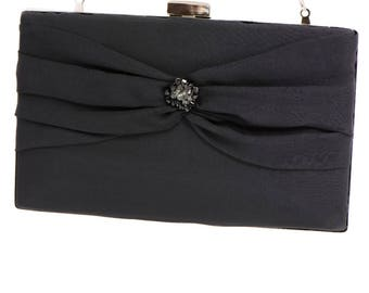 Black Evening Silk Box Clutch Handbag MAIA