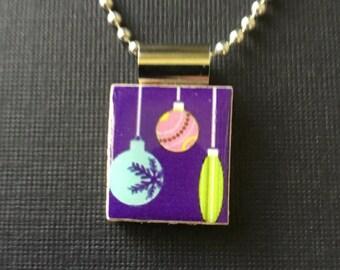 Christmas Ornament Necklace, Christmas ball scrabble pendant, ornament necklace, handmade scrabble necklace, handmade Christmas jewelry,