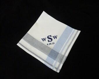 Monogrammed Mens Handkerchief Wedding Blue