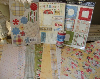 floral scrapbook kit 12x12 shabby chic scrapbooking paper and embellishments paper destash crafting supplies