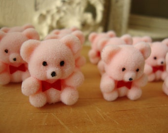 mini flocked pink bears girl baby shower party favor crafts supplies pastel pink kids crafts