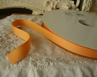 "light orange ribbon grosgrain ribbon destash 3 yards 5/8"" crafts supplies party gift wrap sherbert orange fabric art supplies"