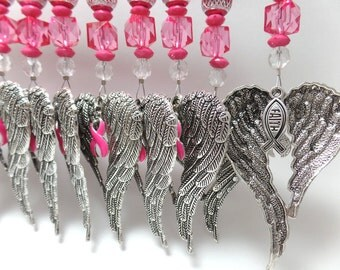 Breast Cancer Awareness Ornament Angel Wings Limited Edition with Hot Pink Ribbon and Beads, FAITH Charms Glass Beads, Car Bling Swivel Hook