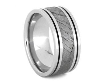 Seymchan Meteorite Wedding Band For Men With Black Enamel Pinstripes, Platinum Wedding Band, Custom Ring