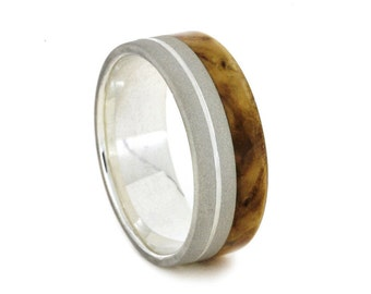 Black Ash Burl Wood Ring, Sterling Silver Wedding Band With Grooved Pinstripe, Custom Made Ring
