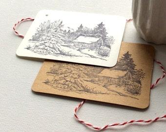 20 Winter Wonderland gift tags, Rustic Christmas gift tags, holiday gift tags, Kraft gift tags, Christmas packaging, Christmas gift tags