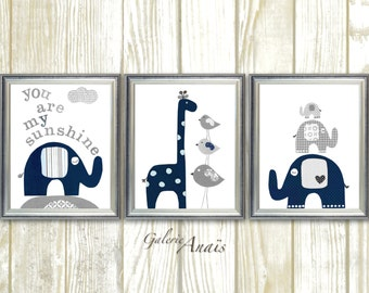 Nursery Wall Decor Kids Wall Art Gray navy Baby boy nursery decor elephant nursery art giraffe Set of 3 prints You are My Sunshine