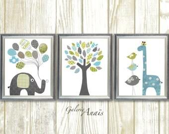 Elephant Nursery art Giraffe Nursery Art Baby Boy nursery decor Blue green Kids wall art bird Tree Set of three prints