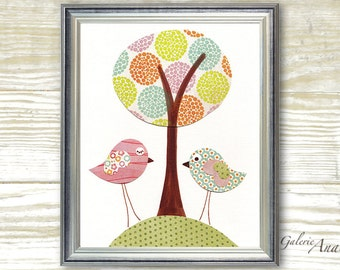 Kids wall art Nursery Decor Art for Children Room nursery birds nursery tree baby nursery wall art - Secret Rendez-Vous print