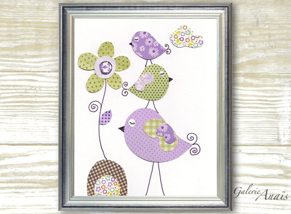 bird nursery  Purple and green girl bedroom - baby nursery print kids art - kids room decor flower - Tendresse