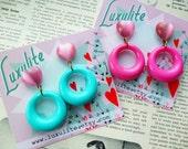 Vintage Valentine... Pink moonglow heart drop-hoop earrings 1950s bakelite fakelite style novelty sweetheart earrings by Luxulite