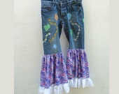Embroidered Flouncy Jeans - Inspiered by Free Funky Festival Clothes - Upcycled Jeans -Boho Fairy Victorian Resplendant Rags
