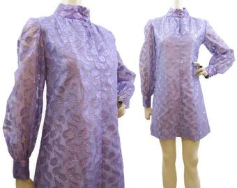 Vintage 60s Dress Purple Lame Chiffon Mini Sheer Balloon Sleeves S M