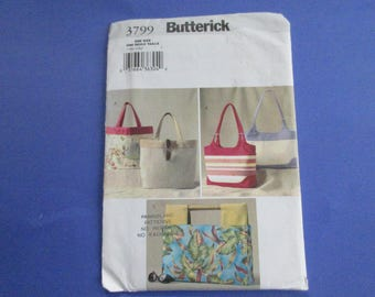 Butterick Handbags Sewing Pattern Carry all BAG, Beach, Shopping Uncut Factory Folds 2003