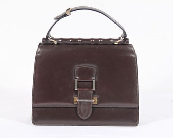 VINTAGE Italian Brown Leather HANDBAG Purse SATCHEL w/ bamboo shape frame mp