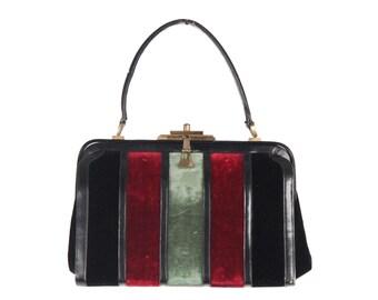 VINTAGE Black Leather HANDBAG Top Handle Bag w/ VELVET Stripes