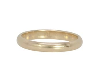 3x1.5mm Half Round Classic Style Wedding Band Fashion Ring, 14K Yellow Gold, Recycled Gold Ring, Sea Babe Jewelry