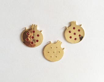 1pc- Bright Gold plated Pomegranate Charm with red bead-20x22mm-(007-056)
